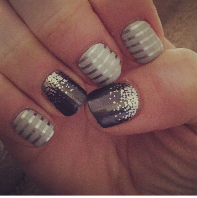 Gray & Silver Horizontal Pinstripe plus Midnight Celebration Jamberry  wraps are the perfect combination for a formal event or New Years Eve manicure