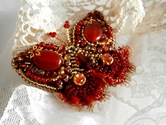 Butterfly Brooch Bead Embroidery Red Ruby, Lace, Beaded Beading, Vintage style  Red and Gold