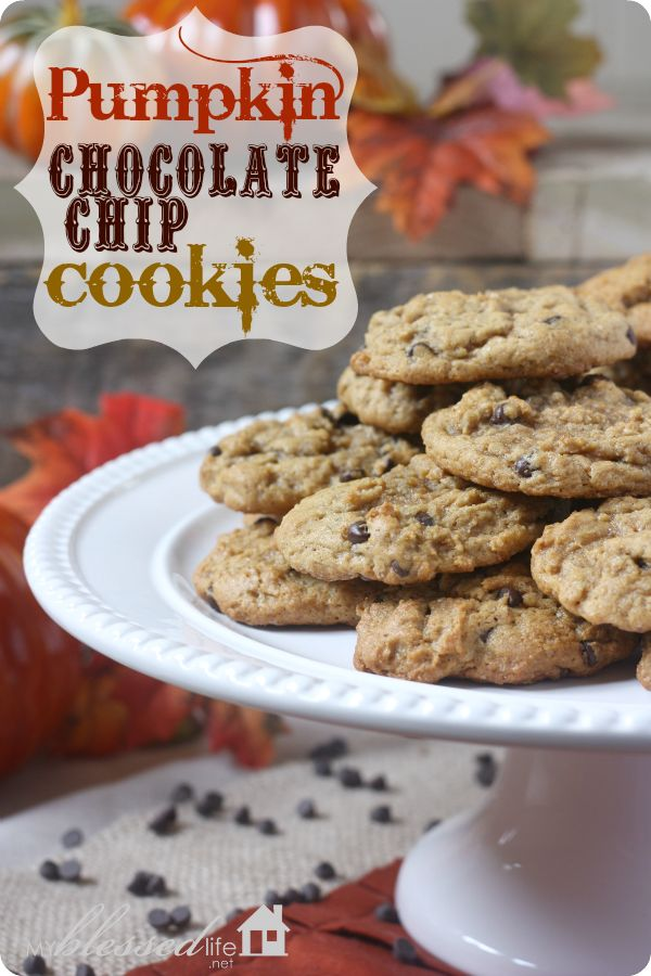 Pumpkin Chocolate Chip Cookies — as a kid we cut them with pumpkin shaped cookie cutters and decorated them like jack o' lanterns!