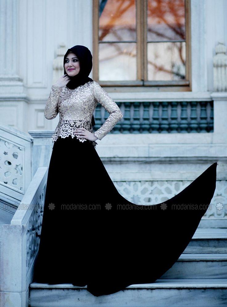 Gold Sequined Evening Dress - Black - Gamze Polat