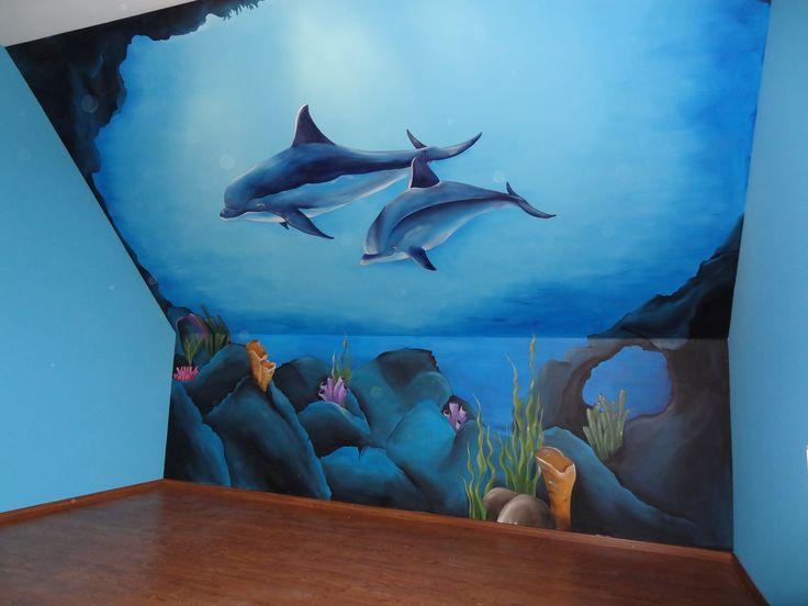Voor meisje dat zot is van dolfijnen deco gala muurschilderingen baby for Kinderkamer deco