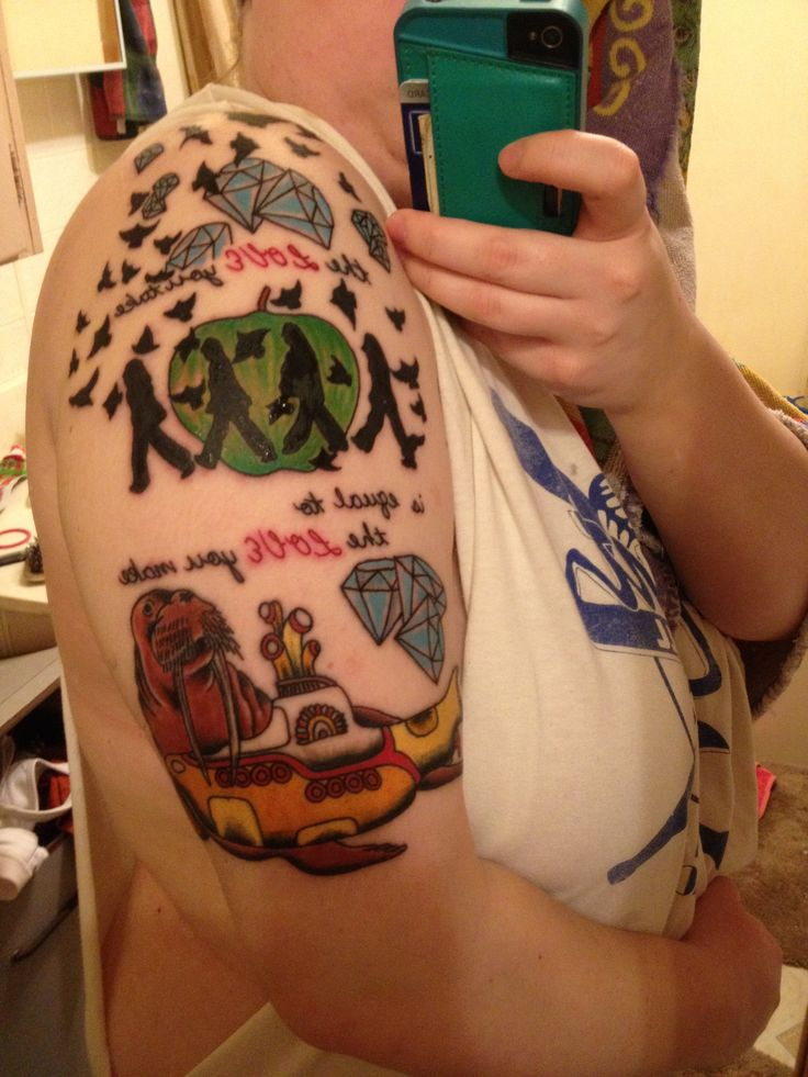 40 best images about beatle tattoos on pinterest first for Beatles tattoo abbey road