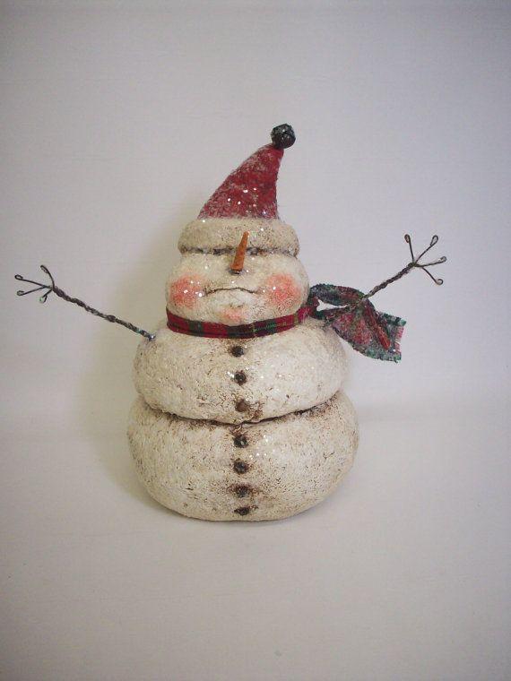 Folk Art Paper Mache Snowman