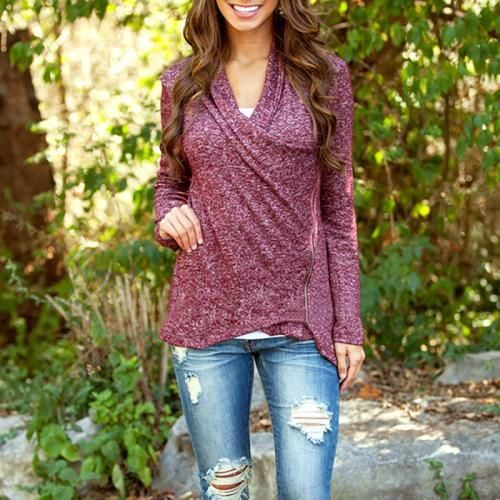 Women Cross Long_Sleeves Knitwear Lady Casual Jumper Fashion Pullover Top Blouse Girls Wonderful Outwear T-Shirt Sweaters Purple
