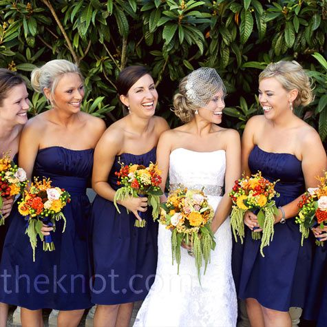 Love the bright flowers with the navy dresses.: Colors Combos, Navy Bridesmaid Dresses, Fall Bouquets, Bridesmaid Colors, Colors Schemes, Orange Flowers, Bridesmaid Dresses Colors, The Dresses, Blue Bridesmaid Dresses