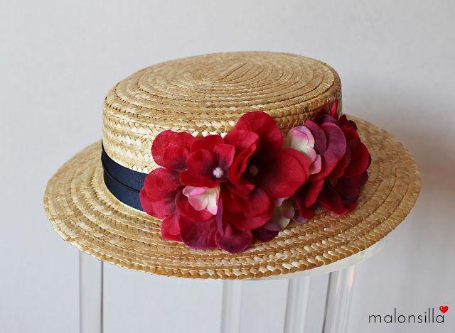 Malonsilla Artesanía - - Canotier copa baja Cadaqués desmontable para invitada boda