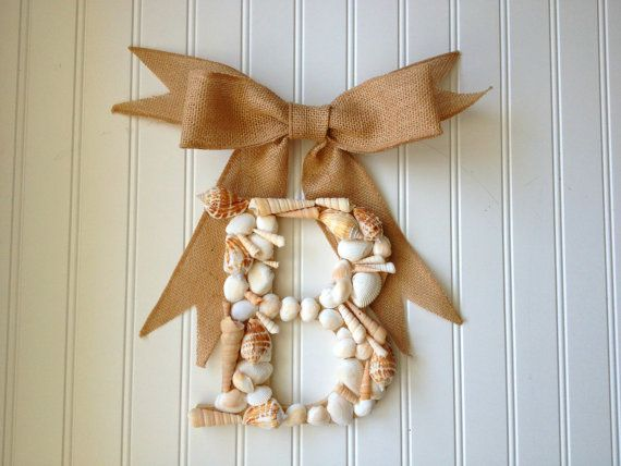 Sea shell monogram wreath with burlap bow. coastal wreath,coastal decor.Summer wreath,wreath for summer.summer decor.seashell monogram. on Etsy, $25.00