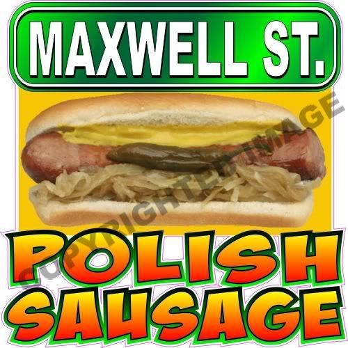 """Customize!  9"""" Maxwell Street Polish Sausage Concession Decal    Glennora, Solid Vision Studio (989) 482-1044"""