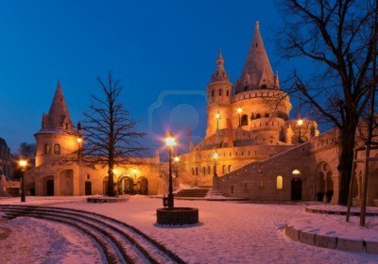 The Fisherman s Bastion in winter in Budapest Stock Photo