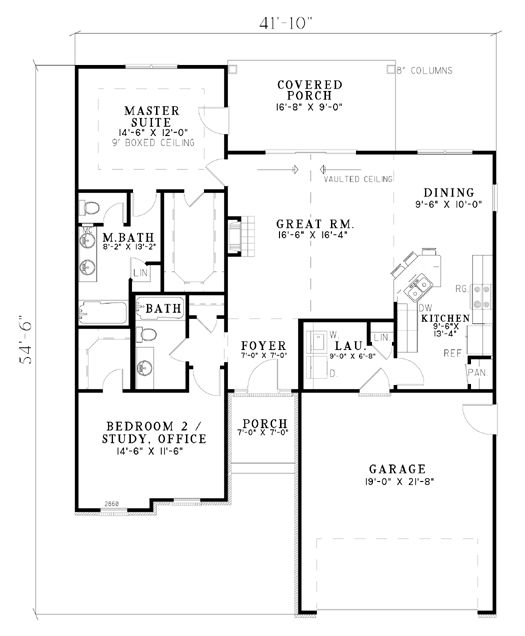 First Floor Plan of House Plan 62264, make linen closet open into master closet and you would have his and her baths, garage becomes man cave with loft, bedroom #2 is my craft room, move door out of laundry and straight into kitchen from man cave