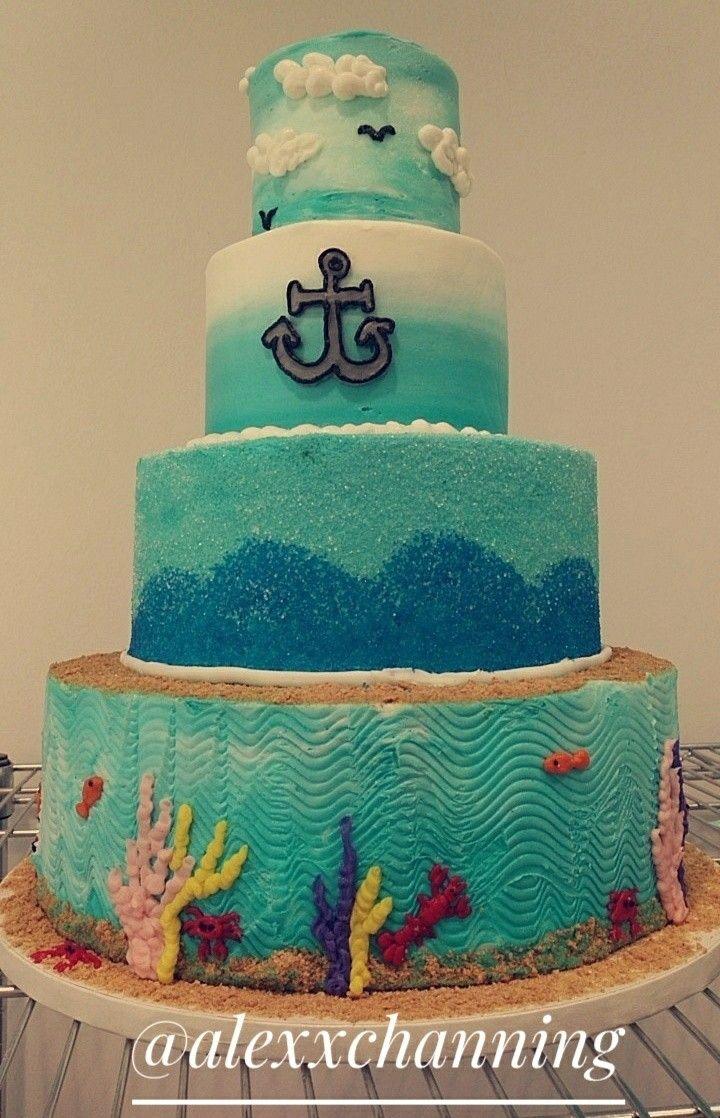 Under The Sea Mermaid Blue Ocean Inspired Buttercream Cake