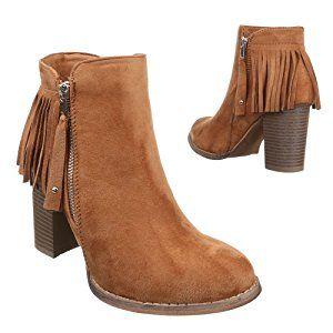 Damen Schuhe, C221, STIEFEL, FRANSEN BOOTS, Synthetik in hochwertiger Wildlederoptik , Camel, Gr 40