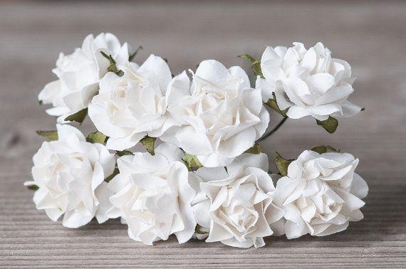 PAPER FLOWERS   Small White Roses Miniature Paper Flowers by BeadsForYourJewelry #flowers #roses #white #paper #craft #wedding #rustic #boho #bohemian #miniature #supplies #findings #diy #etsy #BeadsForYourJewelry