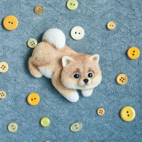 Авторская валяная брошь ручной работы щенок шпиц handmade shpitz pin