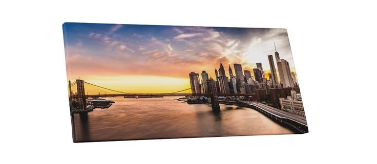 York Brooklyn Bridge Panoramic Gallery Wrapped Canvas Wall Art
