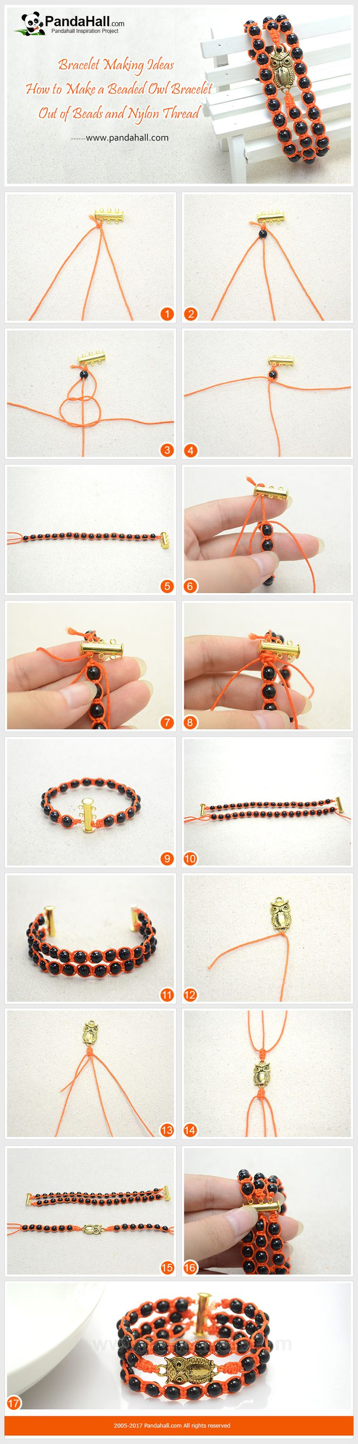 How to Make Beaded Owl Bracelet The symbolic owl and pumpkin red threads make the craft one of the best beaded bracelets for this Halloween ! Just check out and learn how to make the beaded bracelet with strings! #diy #tutorial #craft #bracelet #pandahall #pandahalldiy #owl #Halloween #braid