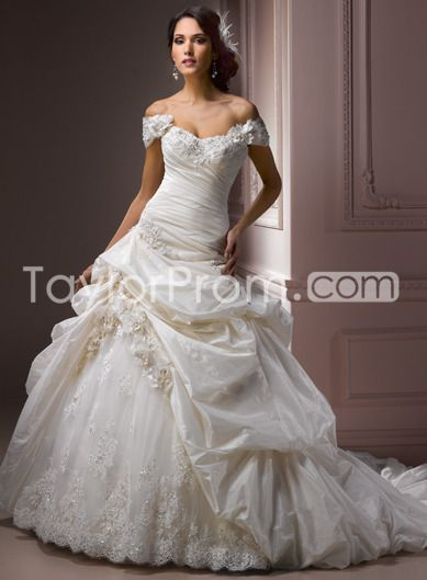 US $234.09 Gorgeous A-line Off-the-shoulder Floor-Length Chapel Lace Trimmed Wedding Dresses