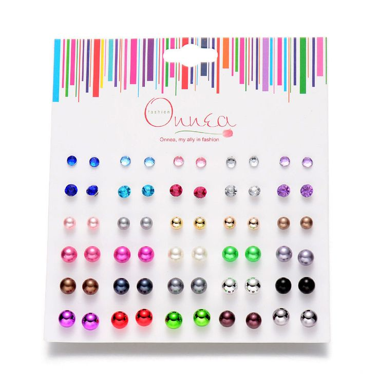 30pairs/lot Stud Earrings jewelry Mix colors cute girls kids earrings Pearl Ball