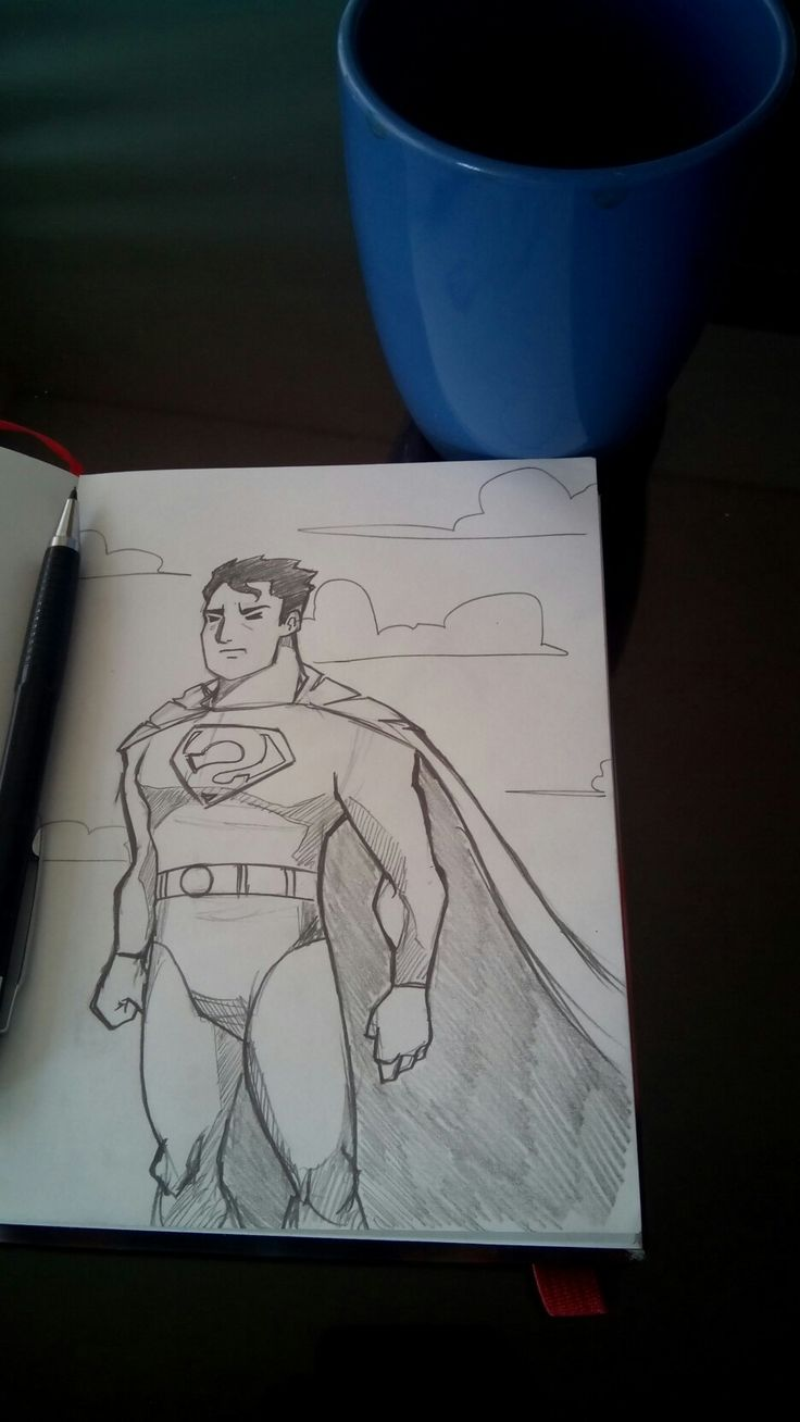 Superman sketch Andrés coffee.