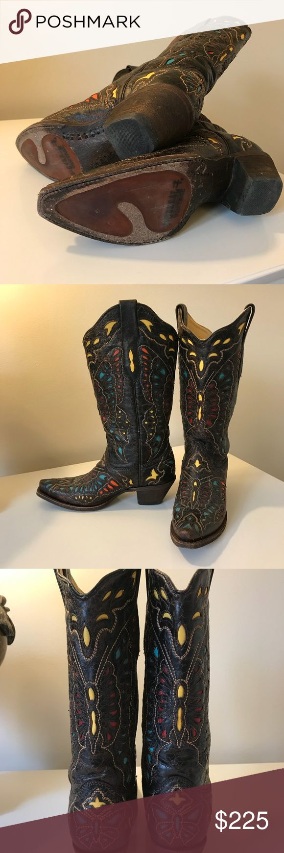 Registered Corral Vintage Cowboy Boots Stunning registered Corral vintage boots! Vibrant multi-colored with extensive detailing.  Real leather and made to last! These boots are registered, #29653.  Size 7M, only worn twice. corral vintage Shoes
