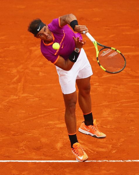 Rafael Nadal Photos Photos - Rafael Nadal of Spain serves against Albert Ramos-Vinolas of Spain in the final on day eight of the Monte Carlo Rolex Masters at Monte-Carlo Sporting Club on April 23, 2017 in Monte-Carlo, Monaco. - ATP Masters Series: Monte Carlo Rolex Masters - Day Eight