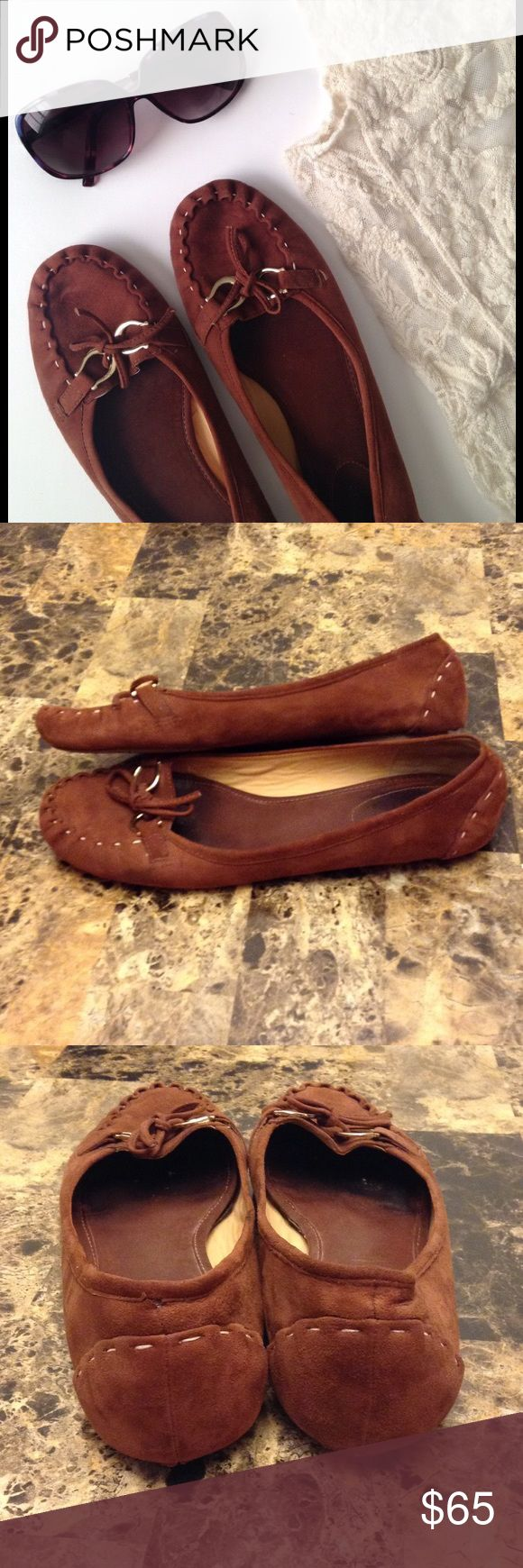 Kate Spade Brown Suede Loafer Moccasins Kate Spade Brown Suede Loafer Moccasins. Size 8.5M. Gently worn. Only note is the back heels have minor wear. See last pic. Otherwise in great condition. Plenty of life left and super comfy! kate spade Shoes Moccasins