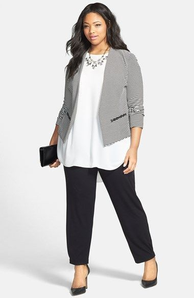 >> Lovely Sejour 'Jetsetter' Stripe Ottoman Knit Jacket (Plus Measurement) | Nordstrom