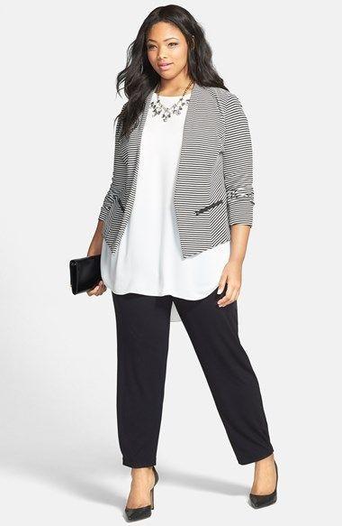 >> Lovely Sejour 'Jetsetter' Stripe Ottoman Knit Jacket (Plus Measurement) | Nordstrom