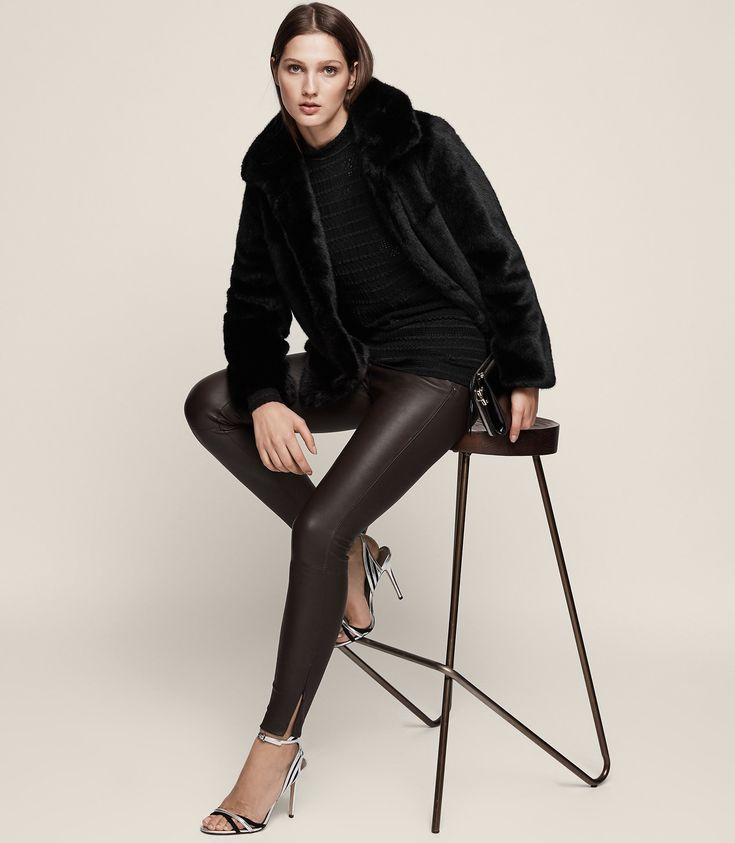 REISS CARRIE LEATHER LEGGINGS CHOCOLATE. #reiss #cloth #