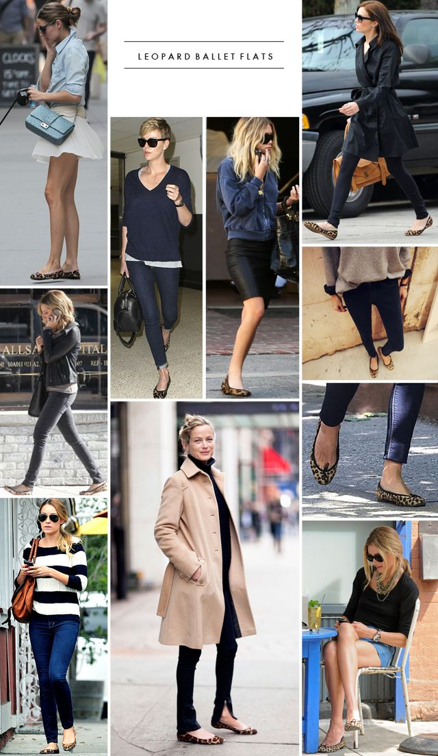 Leopard Ballet Flats worn with otherwise monochromatic or neutral outfits are very chic.