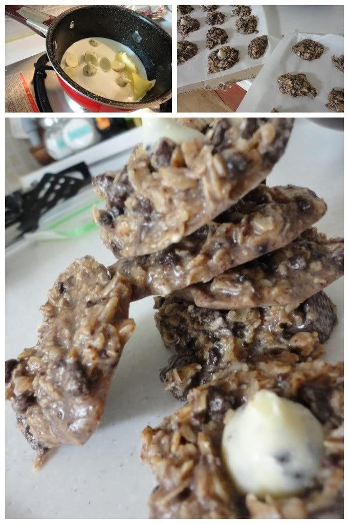 Cookies and Cream no-bake cookies. Really....I need to stop looking at all these great recipes and go for a walk!