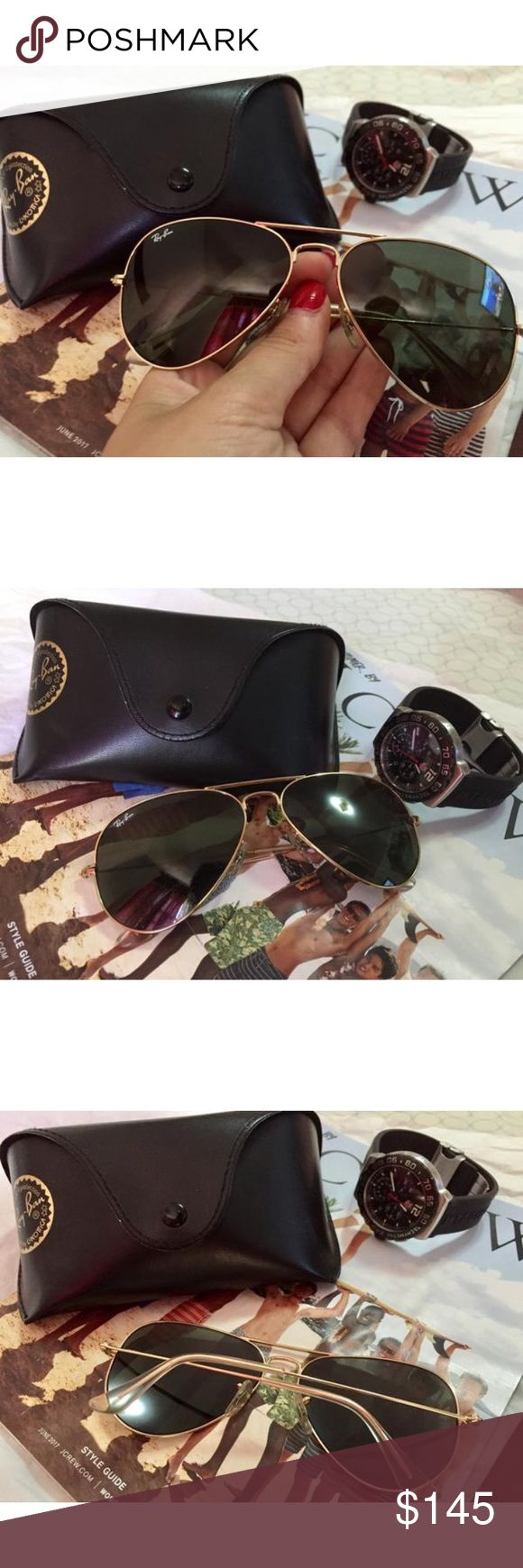 Ray Ban Original Aviator Gold Sunglasses Classic Ray Ban Aviator Glasses. In good condition.Currently one of the most iconic sunglass models in the world, Ray-Ban Aviator Classic sunglasses were originally designed for U.S. aviators in 1937. Aviator Classic sunglasses are a timeless model that combines great aviator styling with exceptional quality, performance and comfort. Pouch and case included. Ray-Ban Accessories Sunglasses