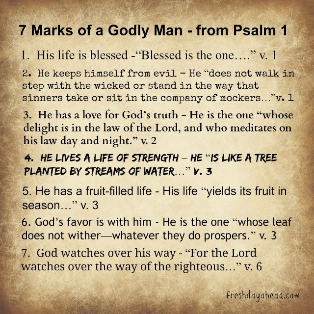 7 Marks of the Godly Man or Woman from Psa. 1 - How to live godly in an ungodly age...