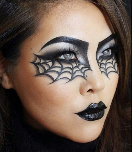 Spider Web makeup Halloween inspiration                              …