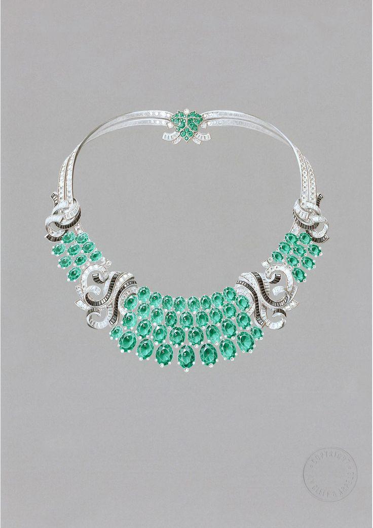 Van Cleef & Arpels emerald, diamond, and black spinel necklace rendering
