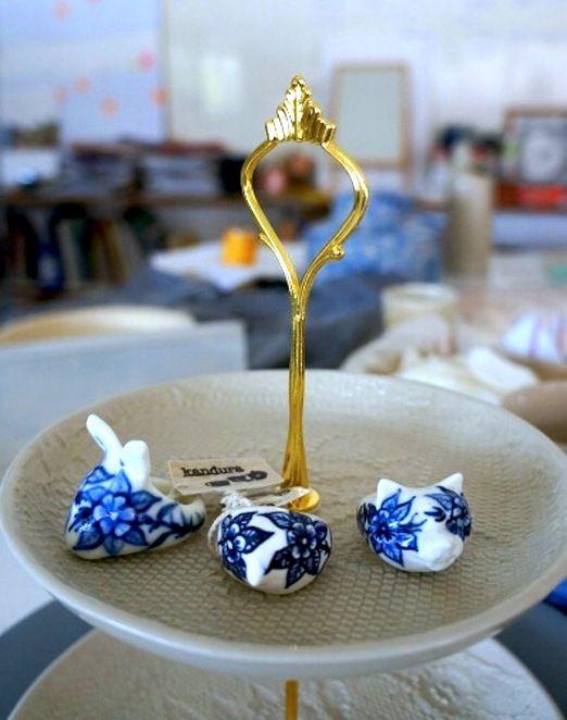 Porcelina: Kandura Keramik also designs ceramic accessory such as this ceramic ring collection. (Photo by Icha Rahmanti)
