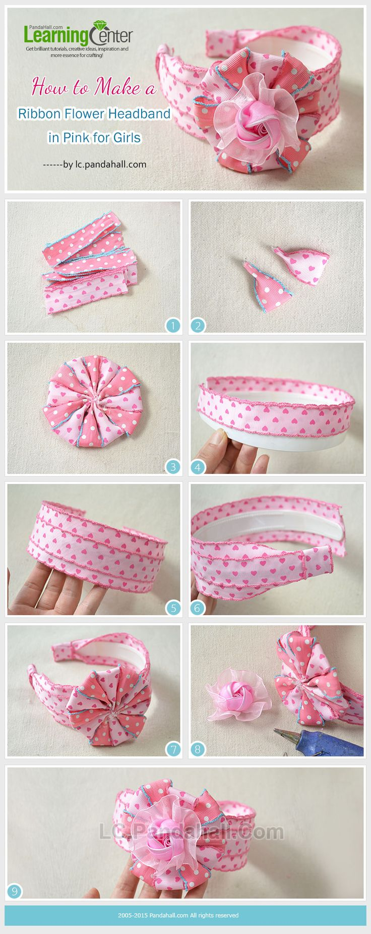 Tutorial on How to Make a Ribbon Flower Headband in Pink for Girls from LC.Pandahall.com