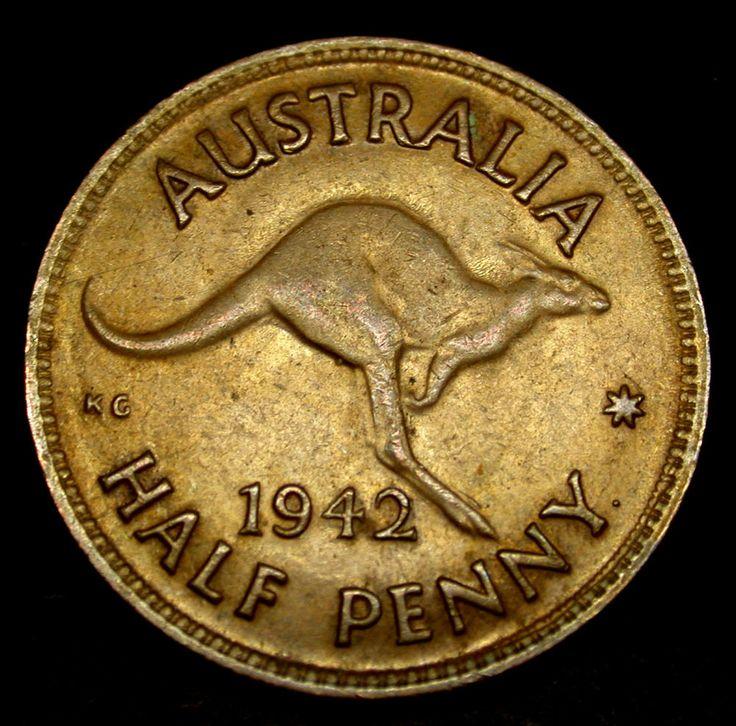 1942 AUSTRALIA Half Penny AMAZING Kangaroo Coin! RARE KANGAROO COIN!