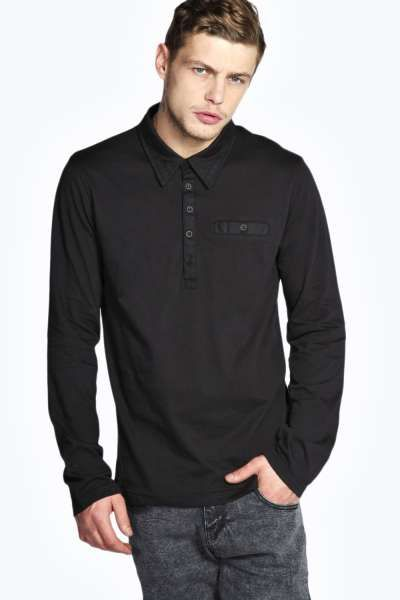 Slim Fit Long Sleeve Polo with Woven Collar at boohoo.com
