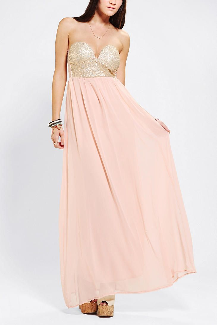 Reverse sequin top strapless maxi dress for Urban outfitters wedding dresses