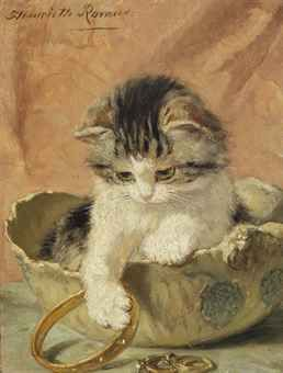 Henriette Ronner-Knip (Amsterdam 1821-1909 Elsene)  A kitten playing with jewelry  signed 'Henriette Ronner.' (upper left)  oil on panel  20.1 x 15.9 cm. private collection