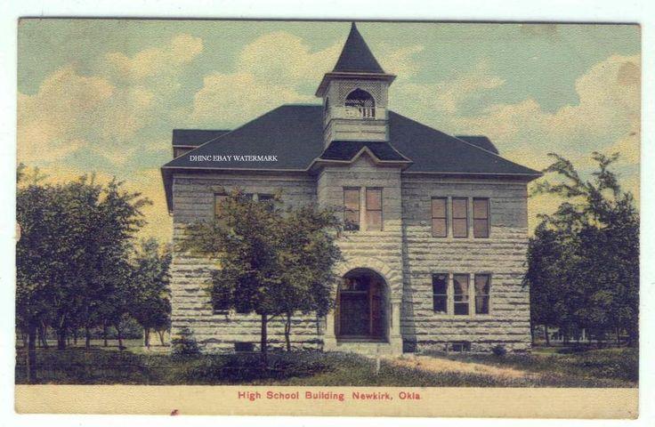Barber Shop Norman Ok : 1912 Postcard High School Building Newkirk Oklahoma