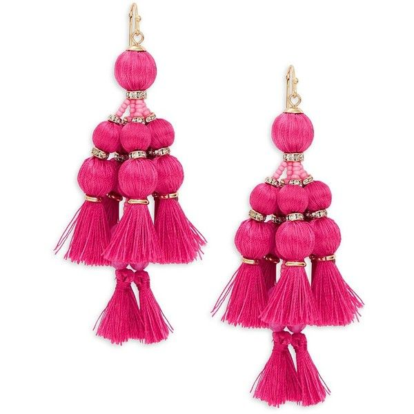 Kate Spade New York Pretty Poms Tassel Statement Earrings ($98) ❤ liked on Polyvore featuring jewelry, earrings, pink, pink earrings, kate spade, pink tassel earrings, pom pom earrings and pink chandelier earrings