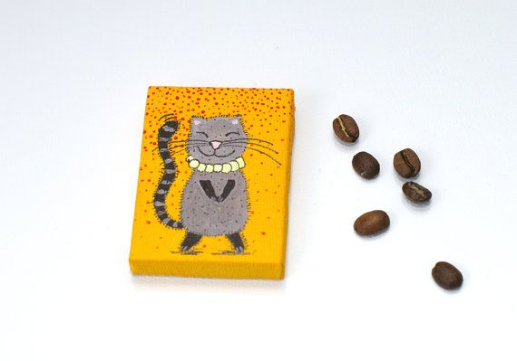 Tiny painting Small canvas art Katze peinture от artbyasta на Etsy