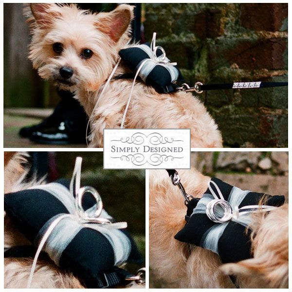 How cute are these little doggie ring bearer pillows (sorry, puppy is not included)! These are made to order from Everything Made Unique and the pillows can be adjust to fit to your doggies size. T...