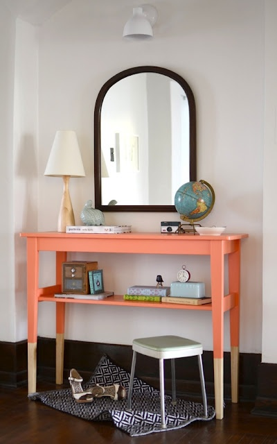 Love this punch of color!: Entryway Tables, Ideas, Entry Tables, Console Table, Paintings Tables, Consoles Tables, Colors, Ikea Hacks, Dips