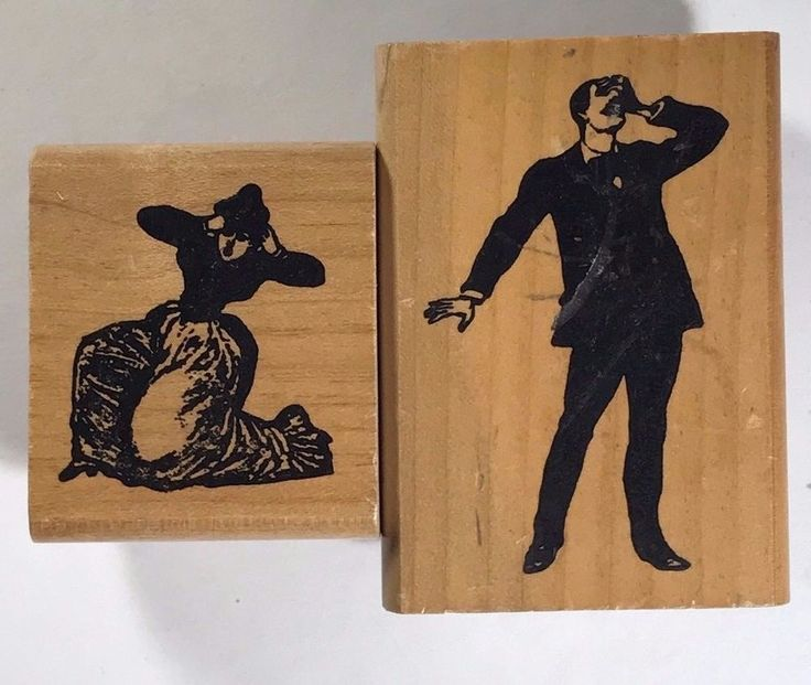 Inkadinkado Rubber Stamp Lot of 2 Murder Scene Drama Theater Halloween Rare T582 #Inkadinkado