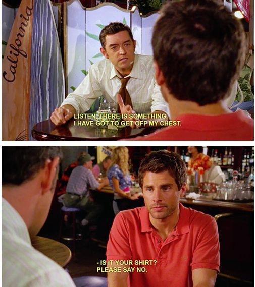 """Psych: """"Is it your shirt? Please say no."""" : )"""