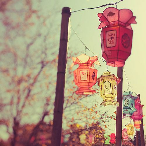 Colored lanterns on a string