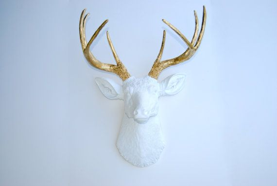 White and Gold Faux Deer Head - Deer Head Antlers Fake Taxidermy Wall Decor D0108